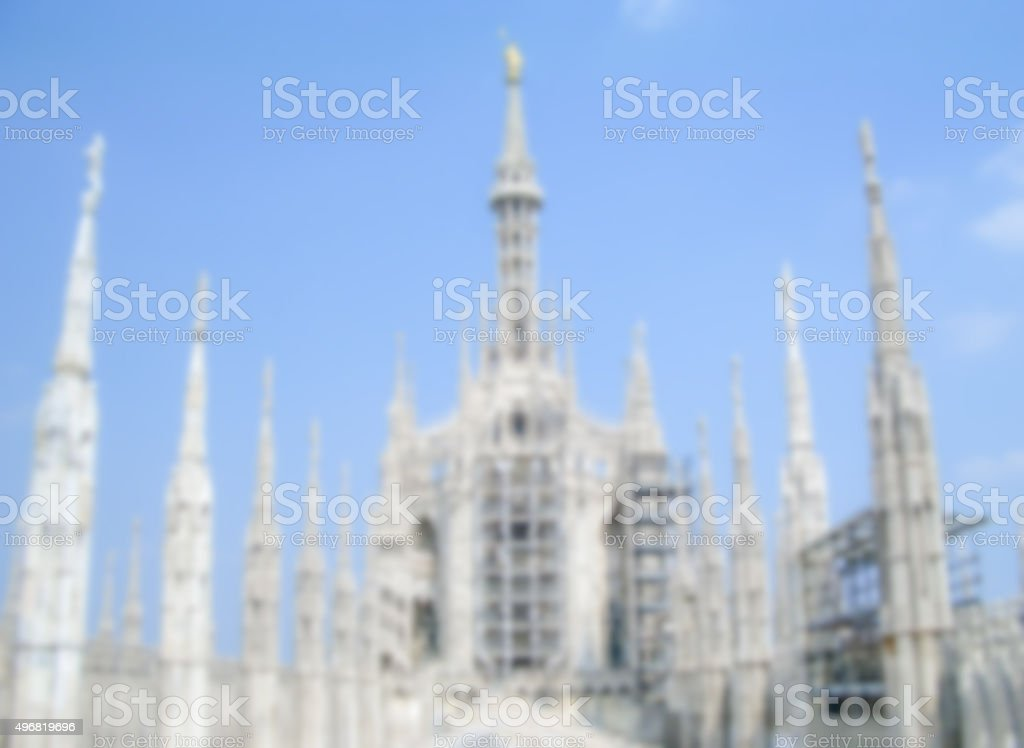 Defocused Background with the roof of Milan Gothic Cathedral. stock photo