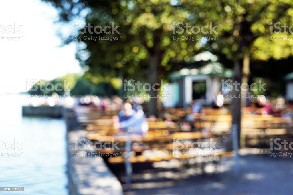 defocused beergarden background stock photo