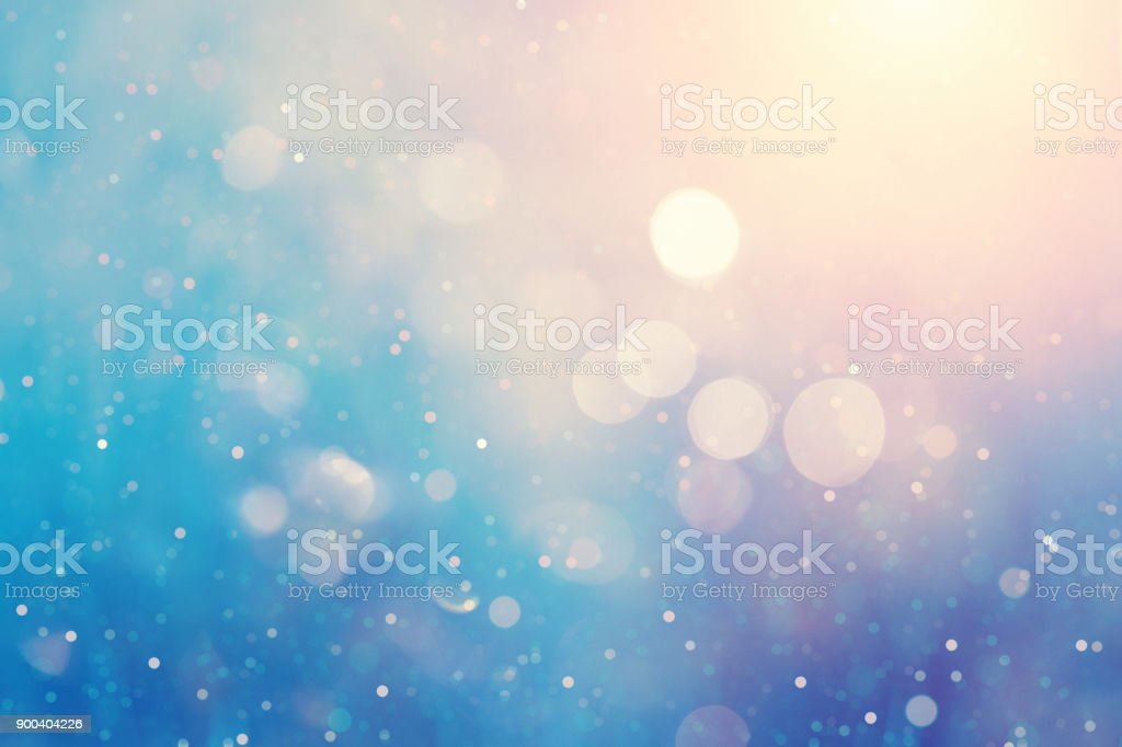 Defocused blue background with light spots – zdjęcie