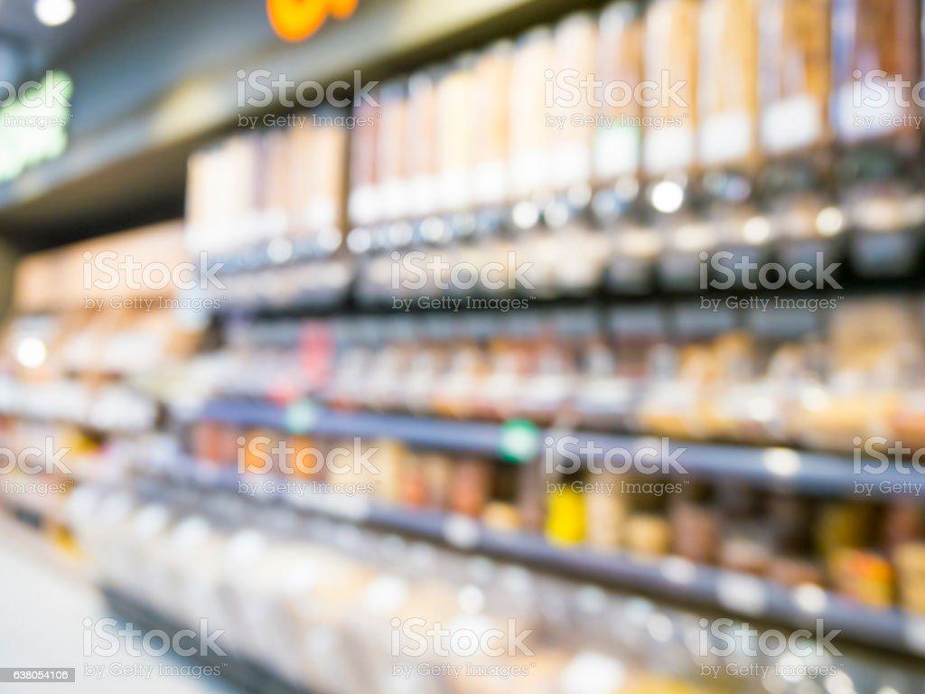 Defocused blur of supermarket shelves stock photo