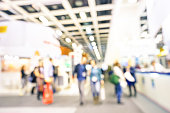 Defocused bokeh abstract of generic trade show expo stand booth