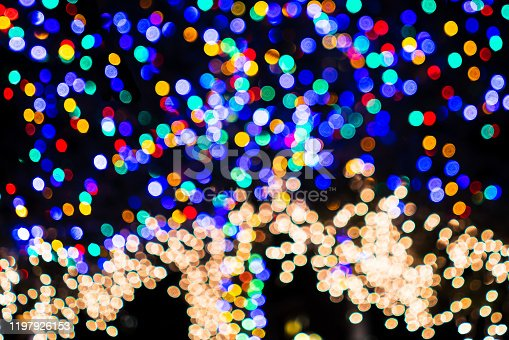 865140324 istock photo Defocused Christmas lights adorning a tree; Background bokeh of colorful lights; abstract background 1197926153