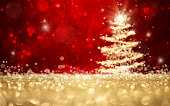 Abstract defocused gold and red glitter christmas tree background with copy space