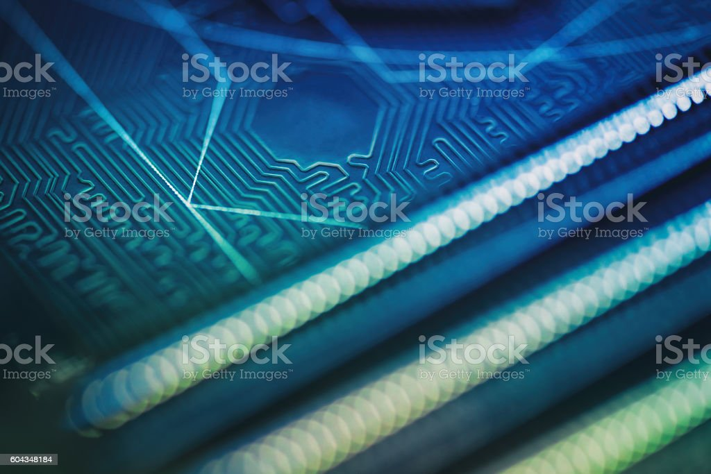 Defocused circuid board pin and paths stock photo