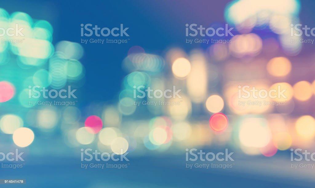 Defocused city background scene at night stock photo