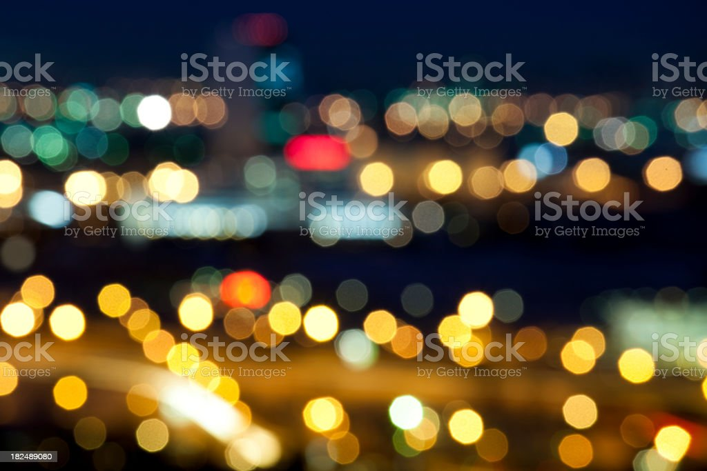 Defocused city lights at night royalty-free stock photo