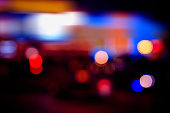 Defocused city lights blurred background with evening city lights.