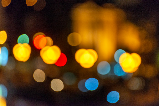 Abstract night light of cityscape bokeh. Skyscrapers, Thailand