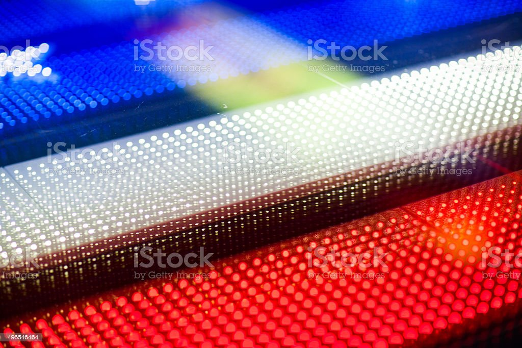 Defocused early evening with American flag in NYC stock photo