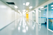 Defocused empty corridor in a hospital.