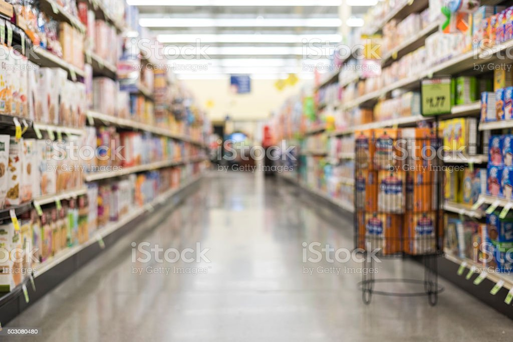 defocused empty store aisle background stock photo