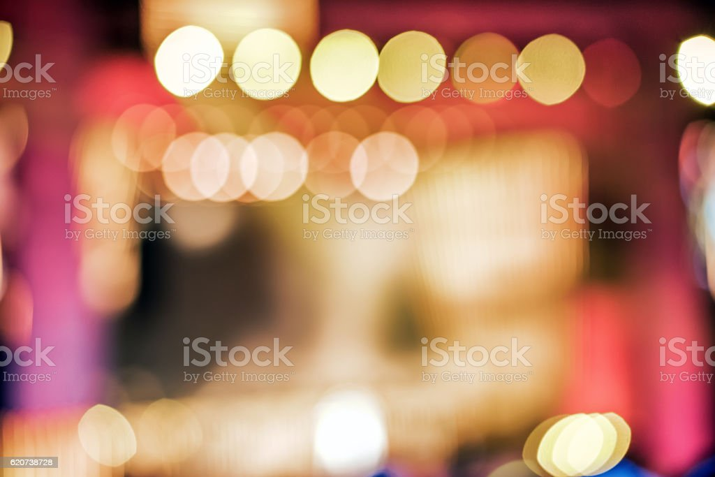 Defocused entertainment concert lighting on stage, bokeh stock photo