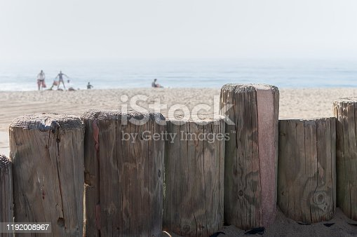 A family plays together near the Pacific ocean. Focus is on wooden posts near the boardwalk, as opposed to the family in the distance. The posts symbolize the togetherness of the family.