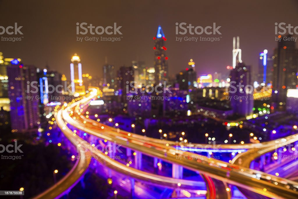 Defocused Highway at Night in Shanghai stock photo