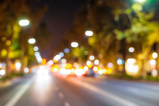 Defocused highway at night