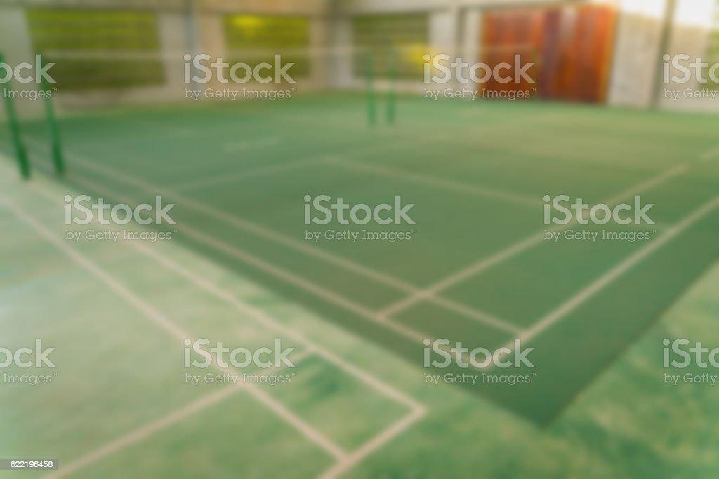 Defocused image of Badminton court stock photo