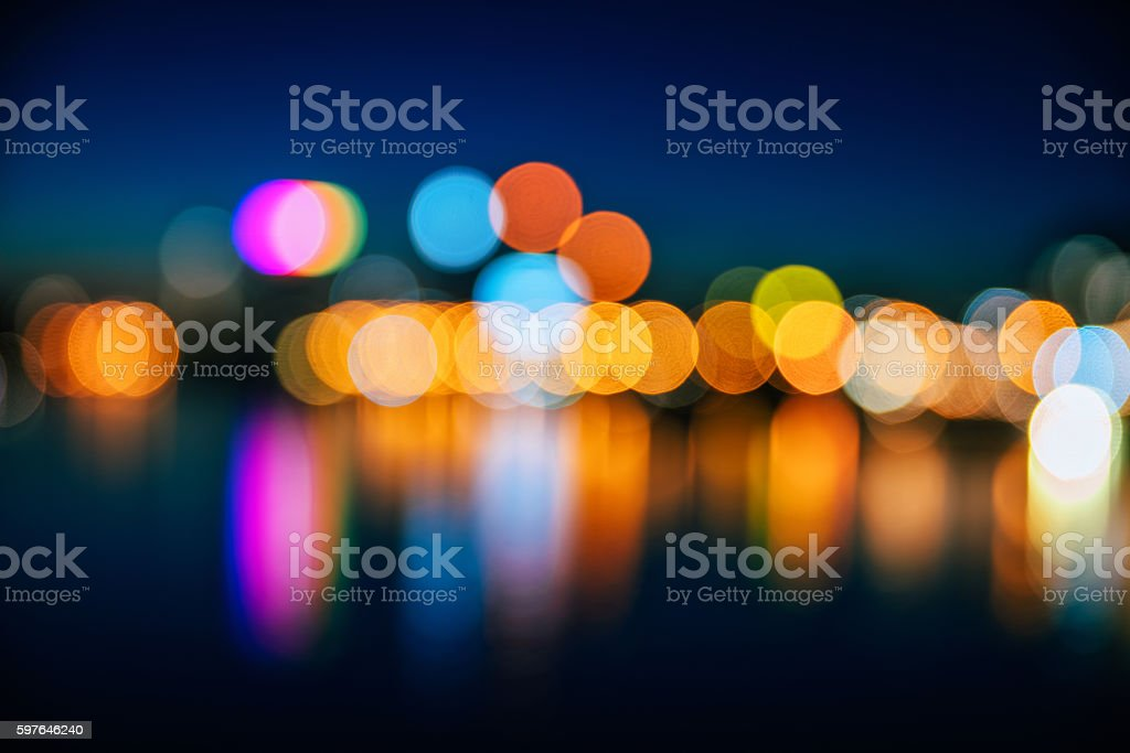 Defocused Image Of City At Night stock photo