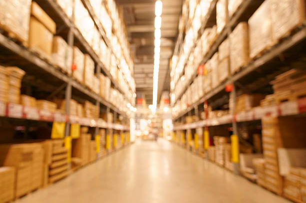Defocused image of warehouse stock photo
