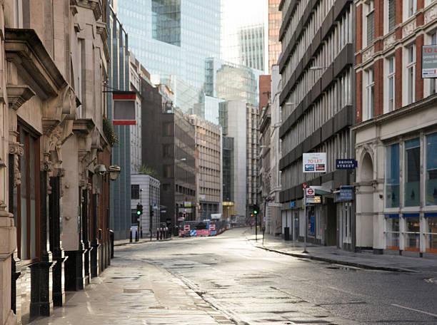 Defocused Inner London back lit street panoramic background – Foto