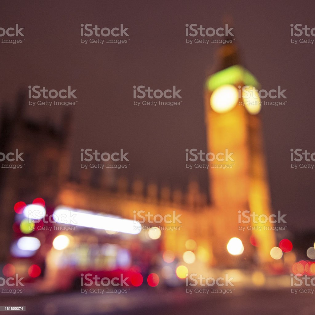 Defocused light under the Big Ben on Westmister royalty-free stock photo