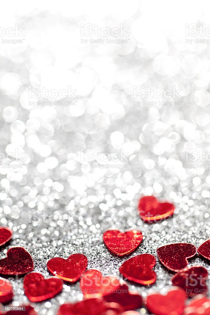 Defocused Lights Glitter hearts - Valentine's Day Love stock photo