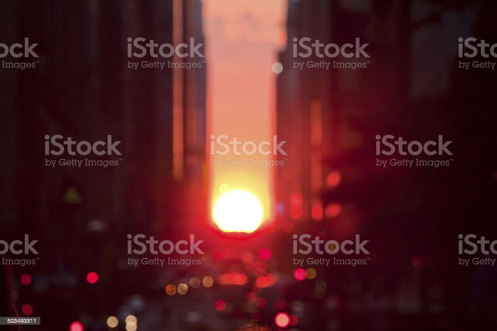 Defocused Manhattanhenge stock photo