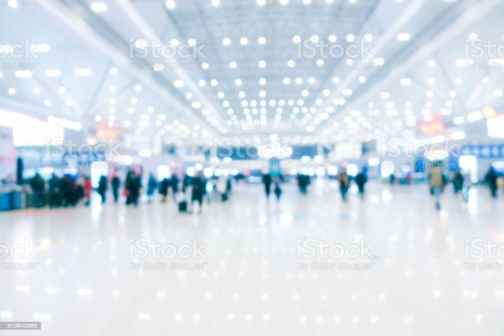 Defocused modern airport hallway stock photo