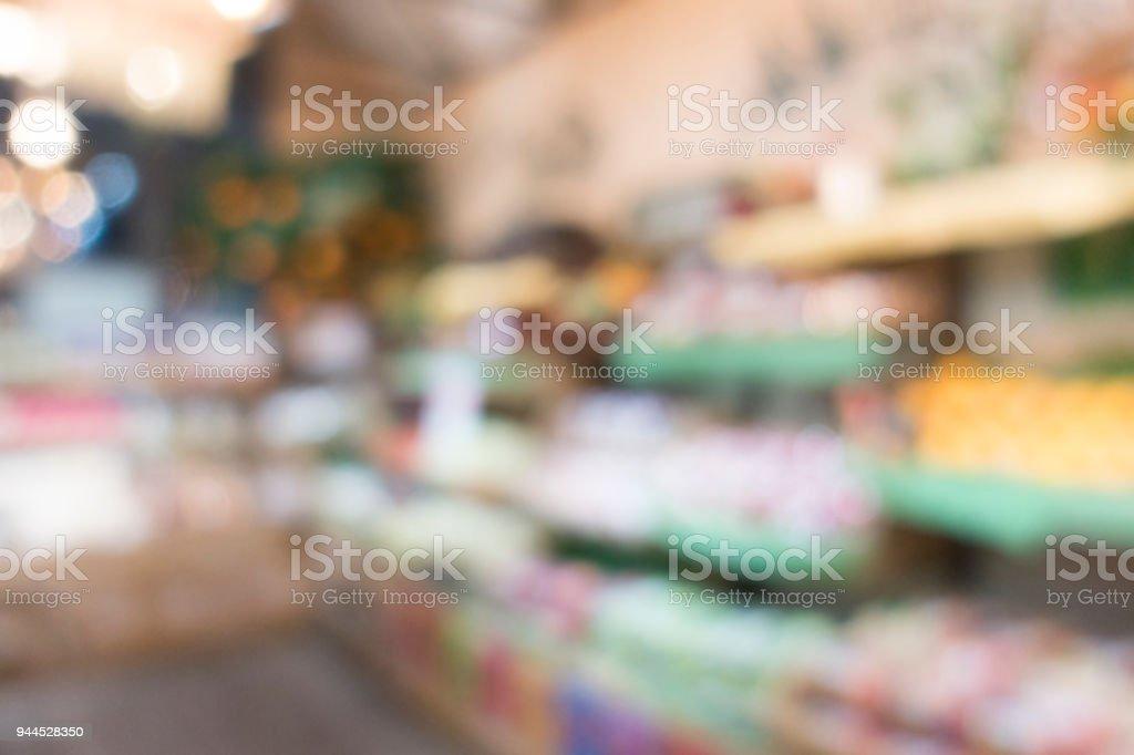Defocused of shelf, display in supermarket. stock photo