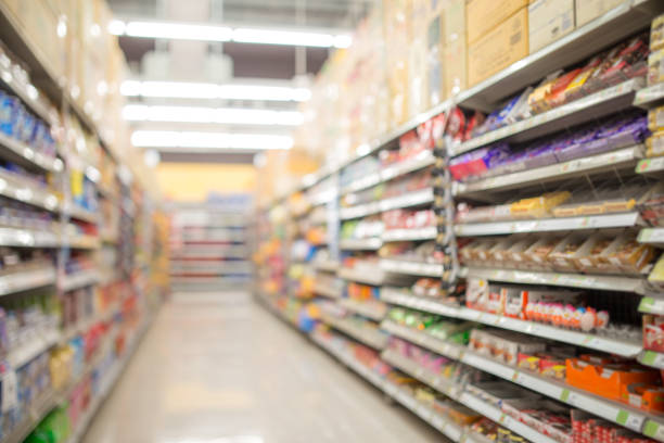defocused of shelf in supermarket stock photo