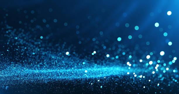 fond de particules défocalisées (bleu) - bleu photos et images de collection