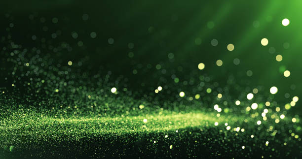 defocused particles background (green) - sustainability foto e immagini stock