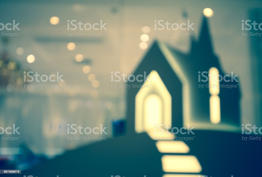 Defocused shopwindow bokeh background stock photo