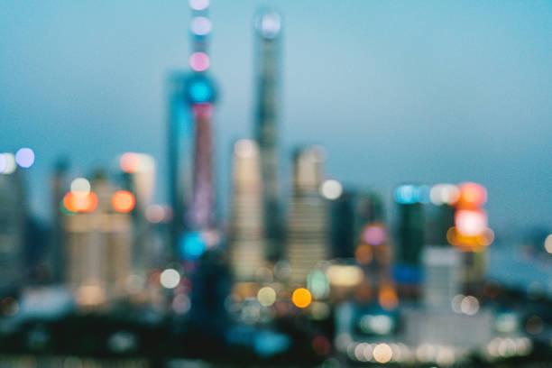 defokussierten Skyline in der Abenddämmerung, Shanghai, China – Foto