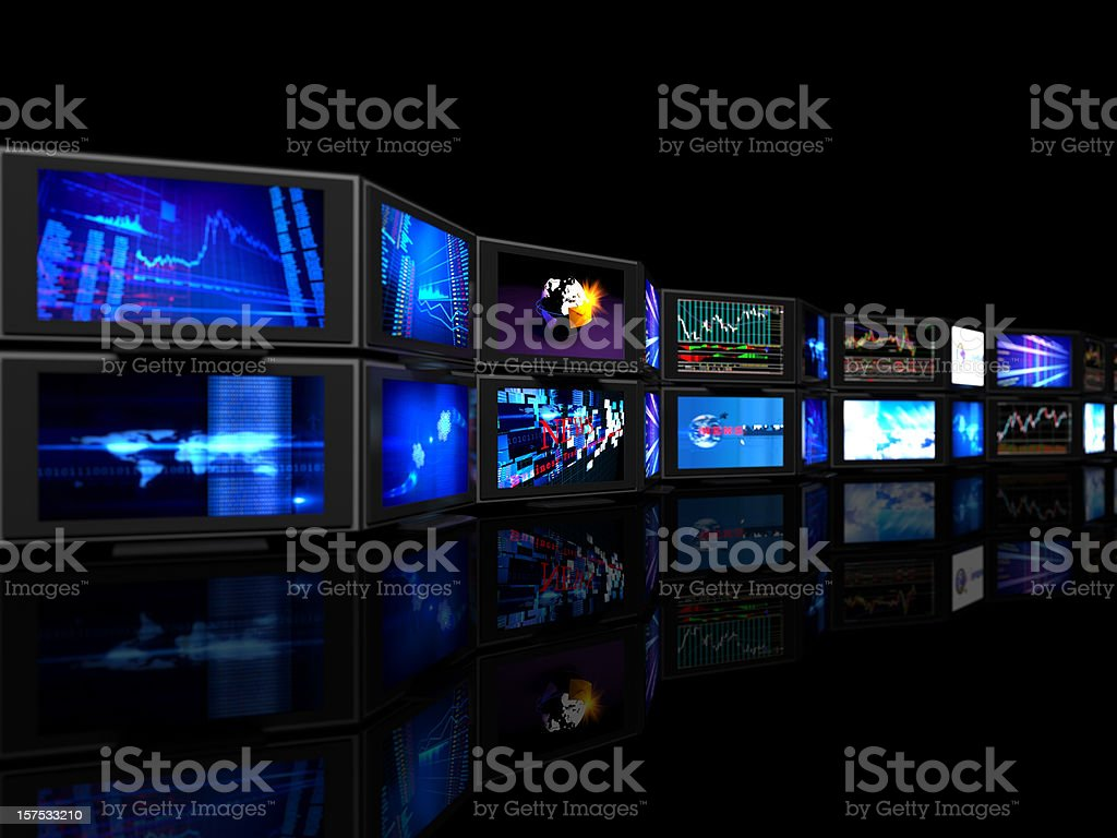 defocused  stock exchange rates tv screens stock photo