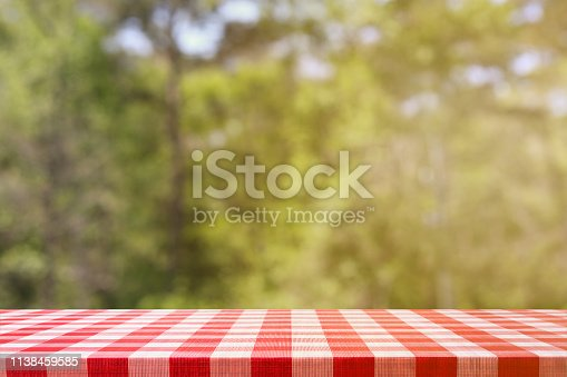 1048926386 istock photo Defocused summer park scene with empty picnic table. 1138459585