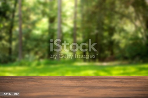 Defocused summer, park scene with blank table in foreground.  Background for object placement or copyspace.