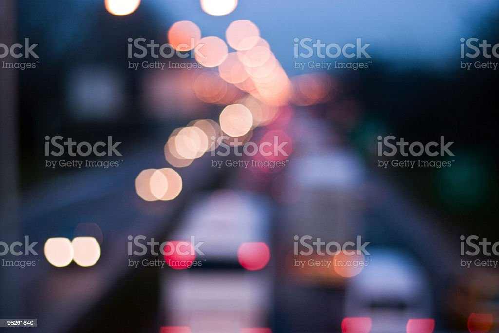 Defocused traffic light at night royalty-free stock photo