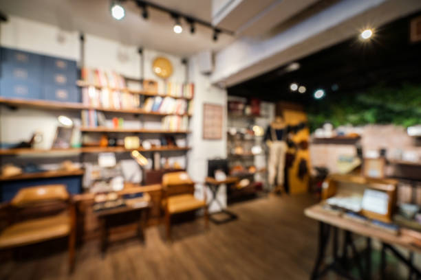 Defocused view of a shoe store stock photo