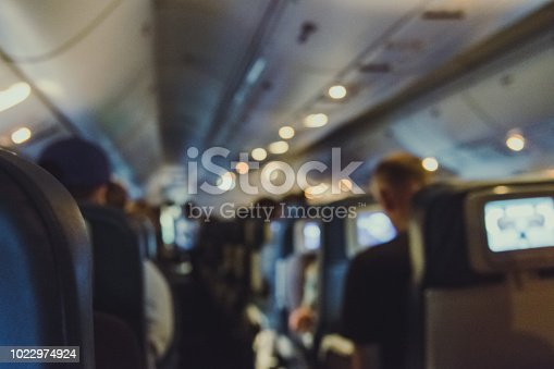istock Defocused View of Passenger on Airplane 1022974924