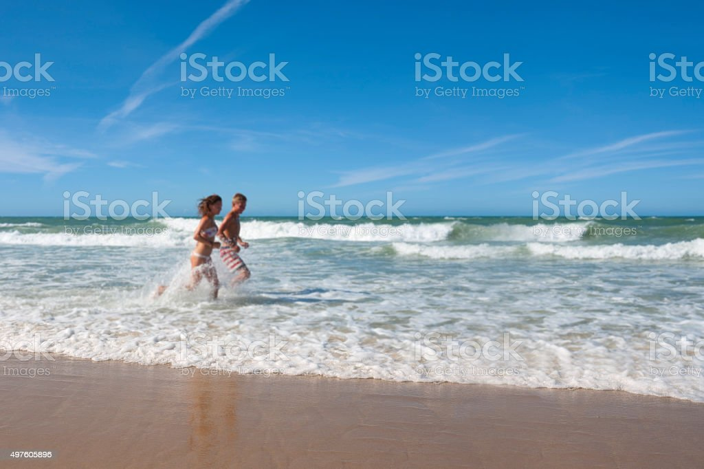 Defocused view of the Atlantic Ocean and Brazilian beach royalty-free stock photo