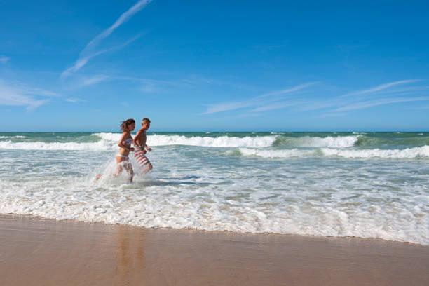 Defocused view of the Atlantic Ocean and Brazilian beach stock photo