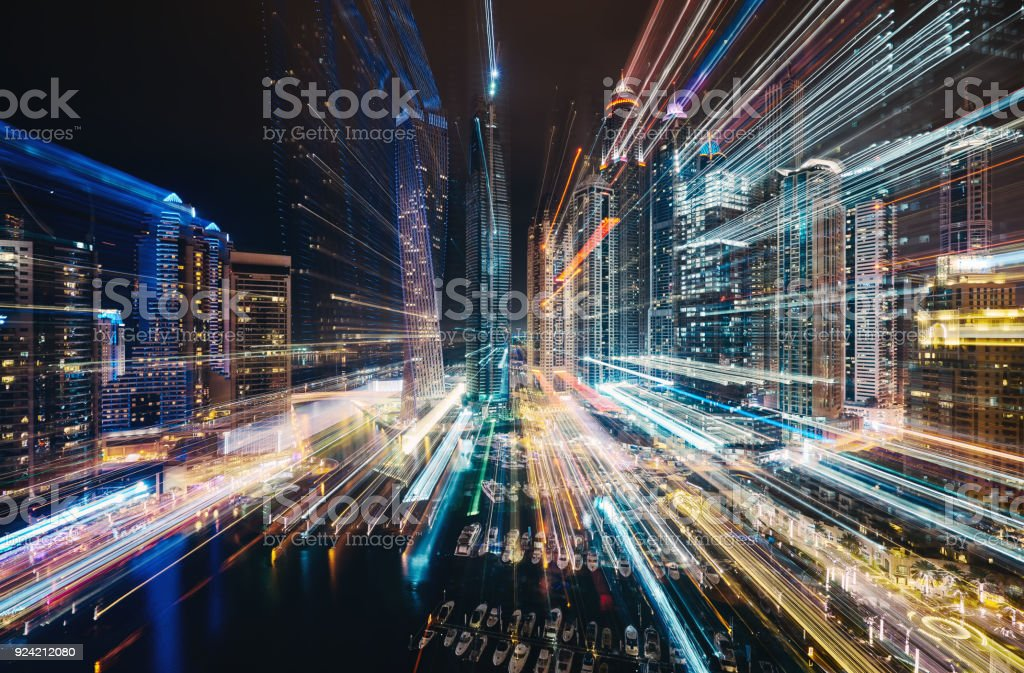 Defokussierten Dubai City Lights – Foto