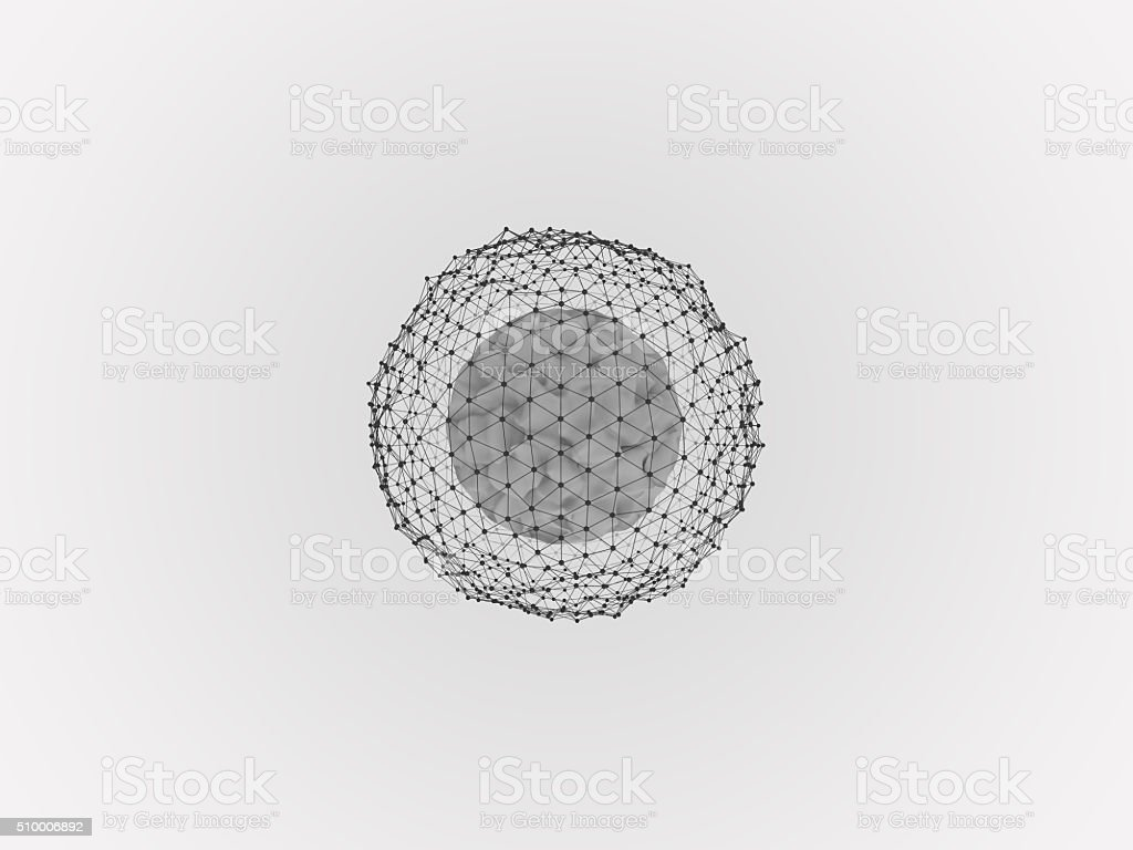 conceptual abstract image deformation sphere surrounded by dots on a...