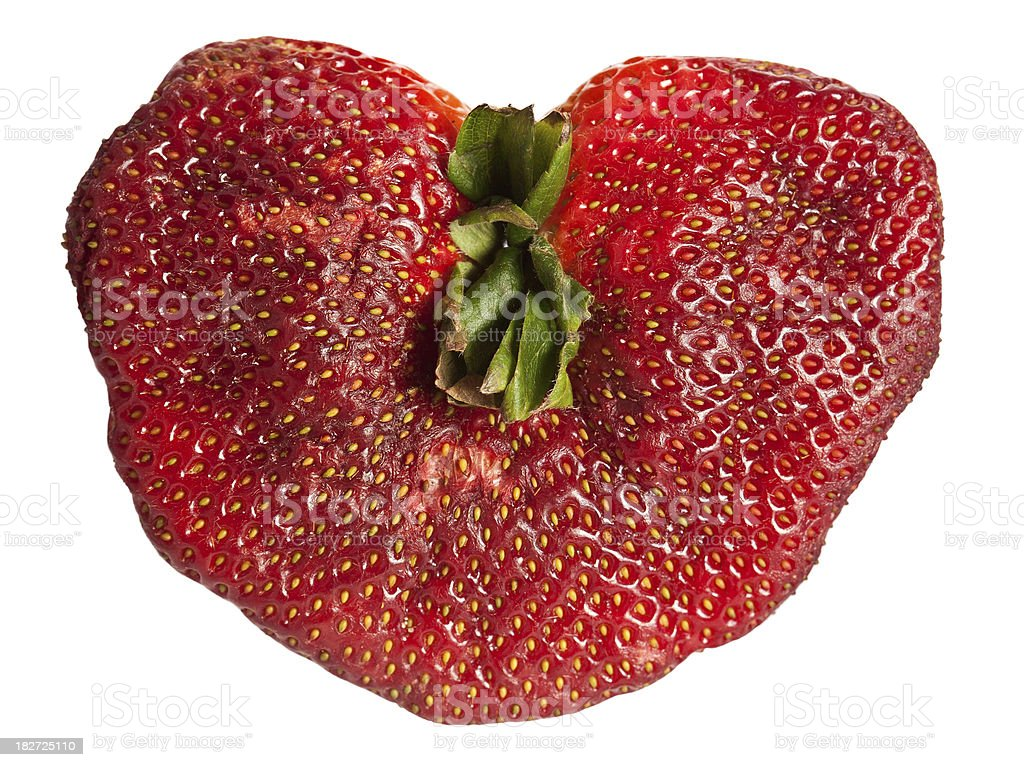 deformed heart shaped strawberry royalty-free stock photo