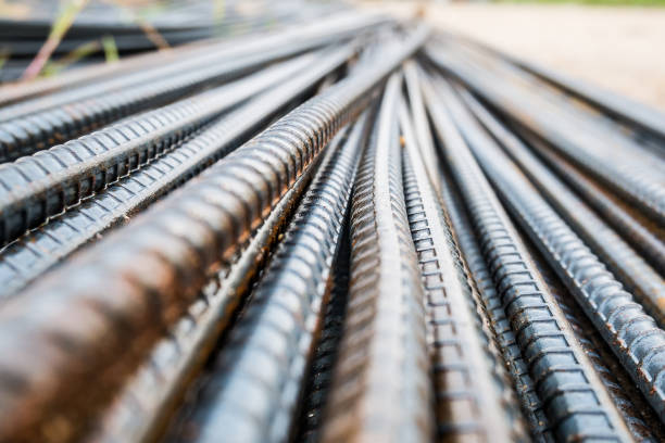 Deformed steel bars metal texture close up Deformed steel bars for reinforce concrete, metal texture close up rod stock pictures, royalty-free photos & images
