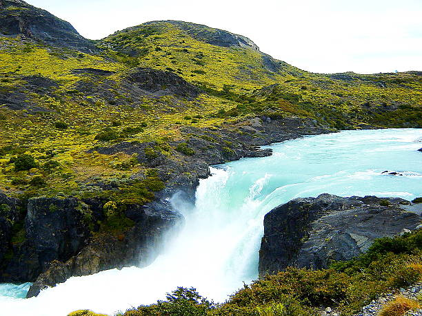 defrost waterfall on patagonia. - defrost stock pictures, royalty-free photos & images