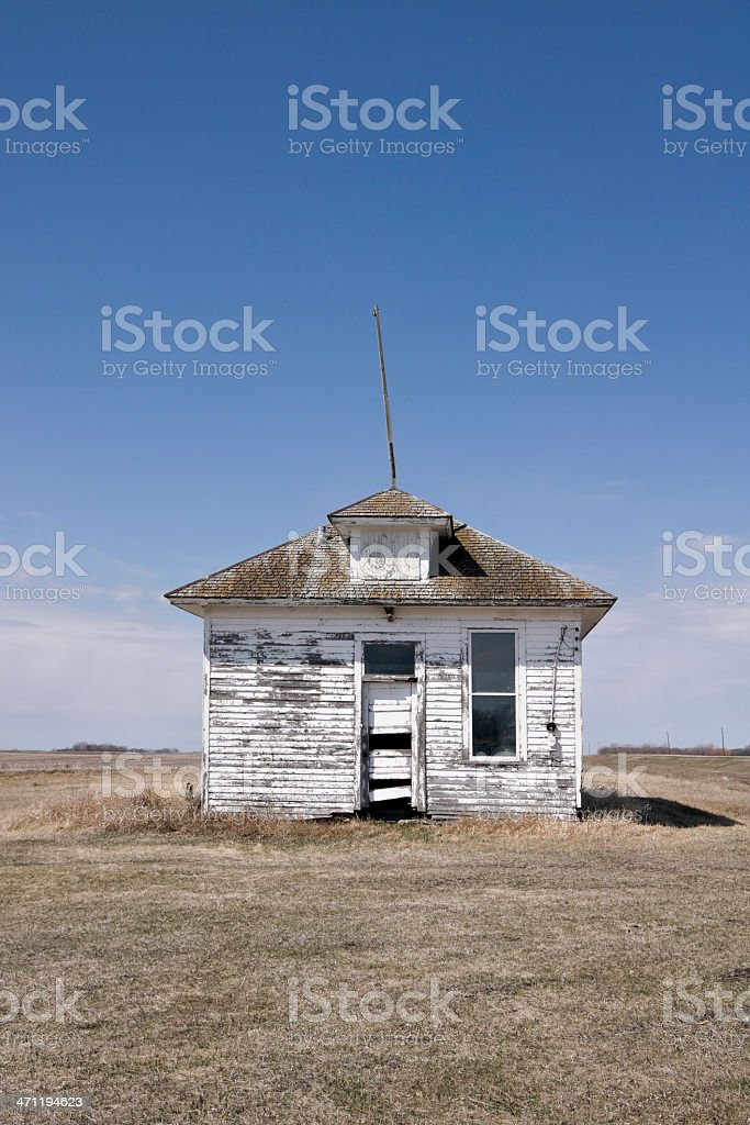 defunct one room country school building royalty-free stock photo