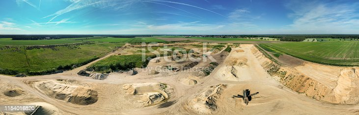 istock 180 degree cylinder panorama from composite aerial photos of a sand pit in northern Germany, aerial 1154016820