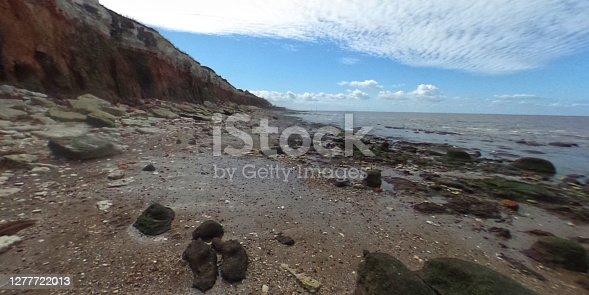 Hunstanton beach and cliffs Hunstanton, Norfolk, East Anglia, England, UK. This is a VR taken on a Ricoh Theta SC 360 degree camera.