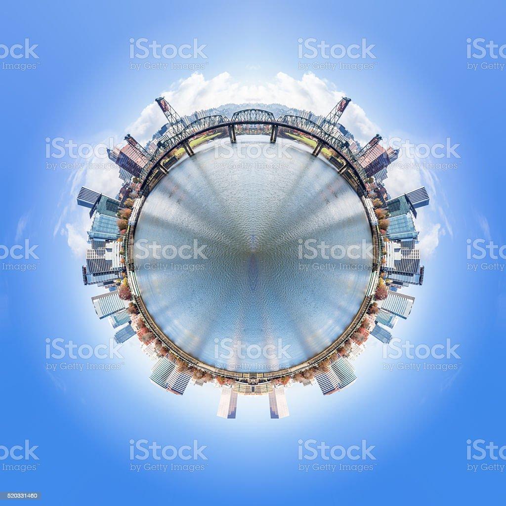 Vue à 360 degrés sur la ville et les gratte-ciel de portland - Photo